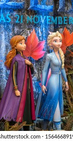 KUALA LUMPUR, MALAYSIA - NOVEMBER 17, 2019: Princess Elsa and Anna from Frozen 2 Magical Journey. This event is a promotion for new Disney blockbuster movie