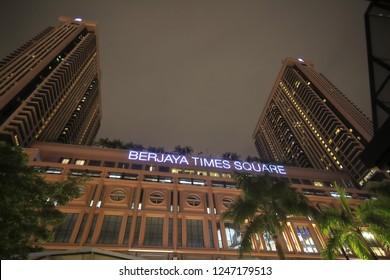 KUALA LUMPUR MALAYSIA - NOVEMBER 19, 2018: Berjaya Times Square in Bukit Bintang Kuala Lumpur Malaysia