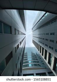 KUALA LUMPUR, MALAYSIA - NOVEMBER 19, 2019: Office buildings from below angle view.