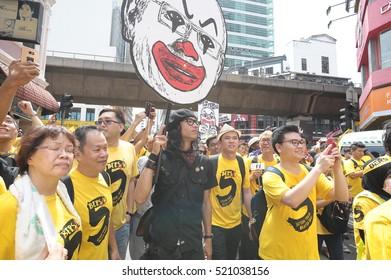 KUALA LUMPUR, MALAYSIA - NOVEMBER 19 2016: Unidentified people protester at Bersih 5.0 peaceful rally demand for free and fair election in Kuala Lumpur, Malaysia.