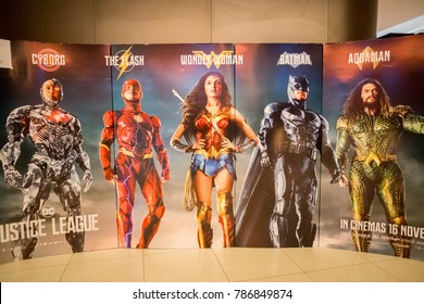 KUALA LUMPUR, MALAYSIA - NOVEMBER 19, 2017: Justice League Movie Poster; League of heroes-Batman, Wonder Woman, Aquaman, Cyborg and The Flash together to face an even greater enemy