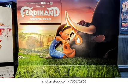 KUALA LUMPUR, MALAYSIA - NOVEMBER 19, 2017: Ferdinand Movie Poster; Ferdinand, a bull with a big heart, determined to return to his family, he rallies a misfit team on the ultimate adventure