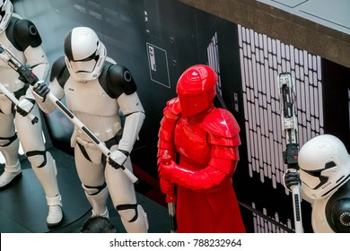 KUALA LUMPUR, MALAYSIA - NOVEMBER 19, 2017: First Order's Stormtroopers and Snoke's Elite Guards from Star Wars: The Last Jedi