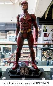 KUALA LUMPUR, MALAYSIA - NOVEMBER 19, 2017: Statue of The Flash from Justice League movie