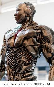 KUALA LUMPUR, MALAYSIA - NOVEMBER 19, 2017: Statue of Cyborg from Justice League heroes