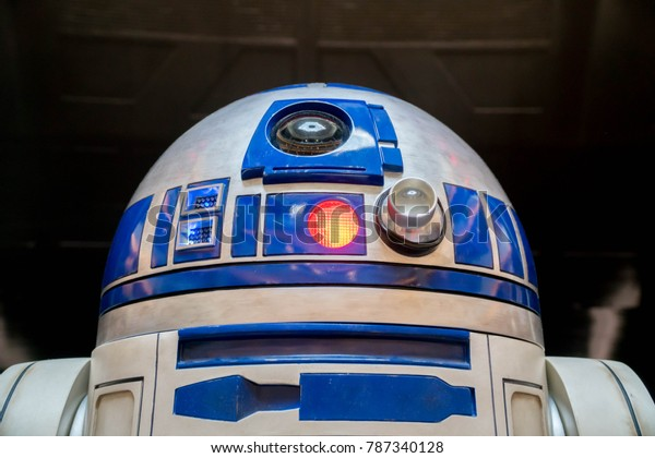 KUALA LUMPUR, MALAYSIA - NOVEMBER 19, 2017: R2D2 from Star Wars: The Last Jedi; R2D2 is a fictional robot character in the Star Wars franchise created by George Lucas.