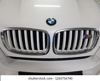 Kuala Lumpur, Malaysia. November 2, 2018. BMW's front grill and logo/emblem of M3 model parked at Kuala Lumpur Convention Centre basement
