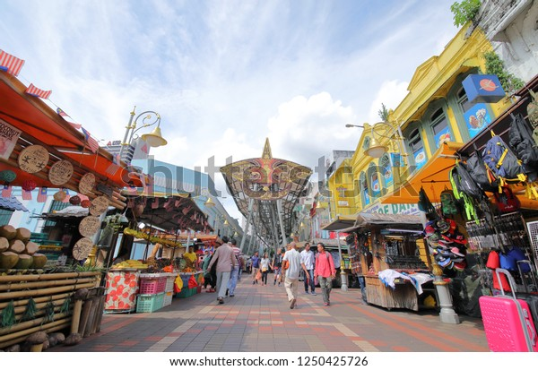 KUALA LUMPUR MALAYSIA - NOVEMBER 20, 2018: Unidentified people visit Central market in Kuala Lumpur Malaysia