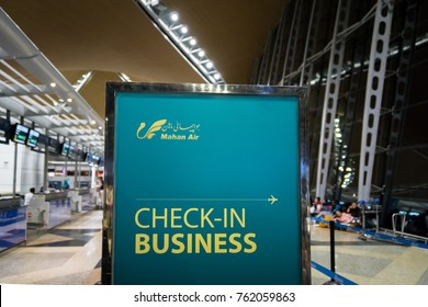 Kuala Lumpur, Malaysia -November 2017: Mahan Air check-in at Kuala Lumpur International Airport. Mahan Air is the flag carrier airline of Iran.