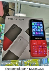 KUALA LUMPUR, MALAYSIA - NOVEMBER, 2018: Nokia phones display for sale. Nokia is a global leader in innovations such as mobile networks, digital health and phones .