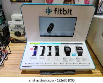 KUALA LUMPUR, MALAYSIA - NOVEMBER, 2018: Fitbit watches for sale in store. Fitbit is an American company headquartered in San Francisco, products for activity trackers that measure data in fitness