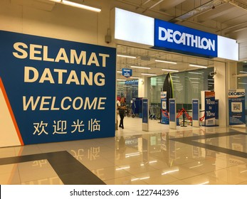 Kuala Lumpur, Malaysia - November 2018 : Decathlon sporting goods and outdoors store in Damansara Utama. Decathlon is one of the world's largest sporting goods retailers in the world.
