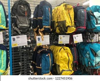 Kuala Lumpur, Malaysia - November 2018 : Decathlon sporting goods and outdoors store in Damansara Utama. Bags of sale in Decathlon market. Damansara, Malaysia.