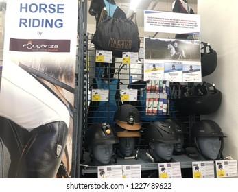 Kuala Lumpur, Malaysia - November 2018 : Decathlon sporting goods and outdoors store in Damansara Utama.  Equipment horse riding sale in Decathlon market. Damansara, Malaysia.