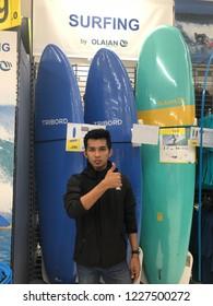 Kuala Lumpur, Malaysia - November 2018 : Decathlon sporting goods and outdoors store in Damansara Utama. Surfing of sale in Decathlon market. Damansara, Malaysia.