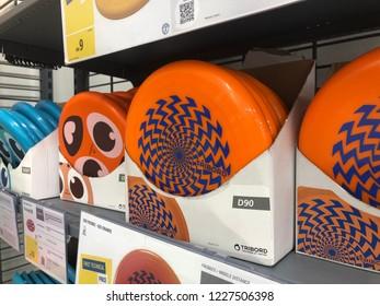 Kuala Lumpur, Malaysia - November 2018 : Decathlon sporting goods and outdoors store in Damansara Utama. Frisbee of sale in Decathlon market. Damansara, Malaysia.