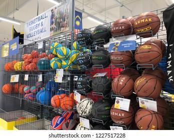 Kuala Lumpur, Malaysia - November 2018 : Decathlon sporting goods and outdoors store in Damansara Utama.  Balls basketball of sale in Decathlon market. Damansara, Malaysia.