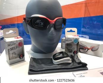 Kuala Lumpur, Malaysia - November 2018 : Decathlon sporting goods and outdoors store in Damansara Utama. Swimming goggles of sale in Decathlon market. Damansara, Malaysia.