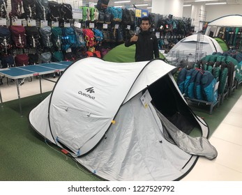 Kuala Lumpur, Malaysia - November 2018 : Decathlon sporting goods and outdoors store in Damansara Utama. Camp of sale in Decathlon market. Damansara, Malaysia.