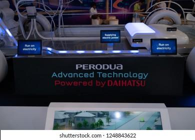 Kuala Lumpur, Malaysia - November 2018: Close up Perodua advanced technology by Daihatsu display at Kuala Lumpur motor show.