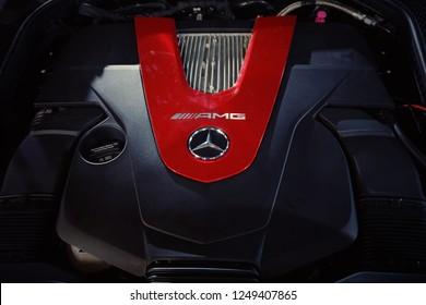 Kuala Lumpur, Malaysia - November 2018: Closeup Mercedes AMG engines at Kuala Lumpur International motorshow.