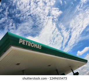 Kuala Lumpur, Malaysia - November , 2018: Petronas station with blue sky background. PETRONAS is Malaysia's brand leading retailer and marketer of downstream oil and gas products.