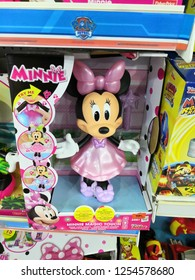 Kuala Lumpur, Malaysia - November 2018 : Minnie Mouse toys made by Disney display for sale in toy store. Minnie Mouse is a funny animal cartoon character and the mascot of The Walt Disney Company.