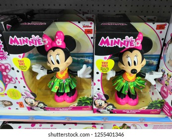 Kuala Lumpur, Malaysia - November 2018 :  Minnie Mouse character made by Disney display for sale in toy store.