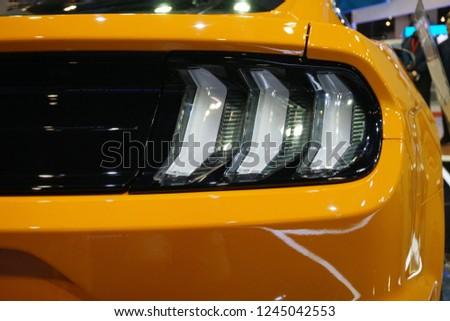 Kuala Lumpur Malaysia November  Closeup Yellow Ford Mustang Gt Rear Lights