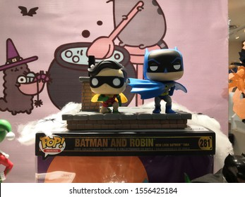 Kuala Lumpur, Malaysia - November 2019 : Batman action figure on store shelf in DC shop Pavillion Mall. Batman is a fictional superhero appearing in American comic books published by DC Comics.
