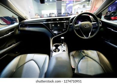 Kuala Lumpur, Malaysia - NOVEMBER 22,2018 :  Closeup Staring part of  new Toyota Camry at Kuala Lumpur International Motor