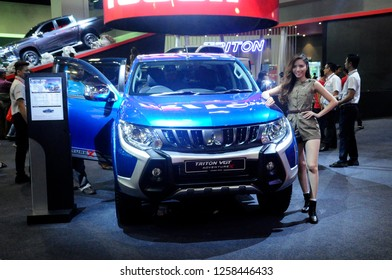 KUALA LUMPUR, MALAYSIA -NOVEMBER 23, 2018: Mitsubishi truck displayed in huge sale showroom. Mitsubishi is one of the famous car manufactures in the world from Japan.