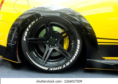 KUALA LUMPUR, MALAYSIA -NOVEMBER 23, 20178: Selected focused on car sports rims with the tyre.