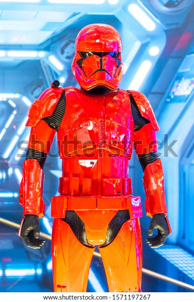KUALA LUMPUR, MALAYSIA - NOVEMBER 23, 2019: Red Stormtrooper from Star Wars The Rise of Skywalker. This is a road show for promotion new Starwars movie