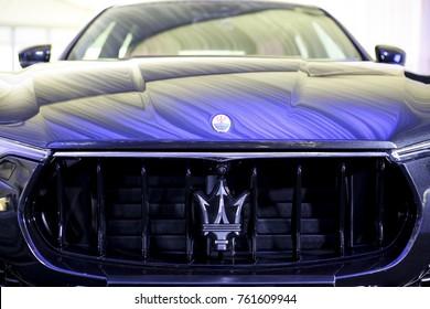 KUALA LUMPUR, MALAYSIA - NOVEMBER 24, 2017 : Logo of Maserati on Maserati Levante S GranLusso Sport Utility Vehicle (SUV).