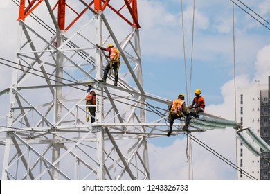 KUALA LUMPUR, MALAYSIA NOVEMBER 25 2018 :Installation of New National Grid, The Grid Code is a set of technical regulations used by utility companies such as Tenaga Nasional Berhad (TNB) in Malaysia.