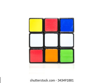 KUALA LUMPUR, MALAYSIA- NOVEMBER 25, 2015: Rubik's cube with white background