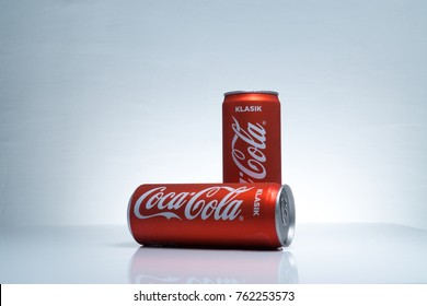 Kuala Lumpur, Malaysia - November 25, 2017 : Photo Of Cold Coca-Cola Classic (KLASIK) Malaysia Edition with micro dew On White Background. Coca-Cola Company Is The Most Popular on Market