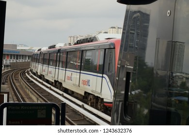 KUALA LUMPUR, MALAYSIA - NOVEMBER 26, 2018 : RapidKL LRT is a light rail transit system serving a large part of the Klang Valley conurbation in Malaysia.