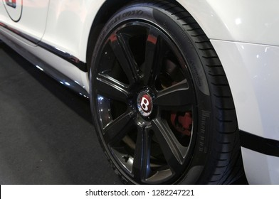 KUALA LUMPUR, MALAYSIA -NOVEMBER 26, 2018: Selected focused of Bentley cars commercial brand emblem & logos at the cars body. Manufactured by British manufacture and subsidiary of the Volkswagen Group