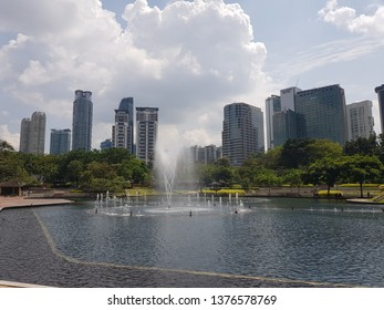 Kuala Lumpur, Malaysia. November 26, 2018. Cityscape view from the Symphony Lake KLCC, one of the major tourists attraction in Malaysia's capital