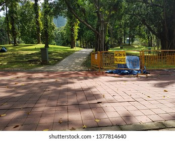 Kuala Lumpur, Malaysia. November 26, 2018. Section of jogging path being closed and barricaded for maintenance work at KLCC Park