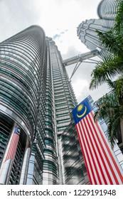 Kuala Lumpur, Malaysia  - November 27 2014: Exterior view of Petronas Twin Towers