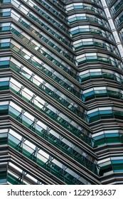 Kuala Lumpur, Malaysia  - November 27 2014: Detail view of the Petronas Twin Tower facade structure