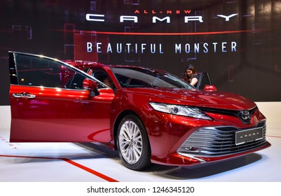 KUALA LUMPUR, MALAYSIA - NOVEMBER 28, 2018 : New Toyota Camry display at Kuala Lumpur International Motor Show 2018