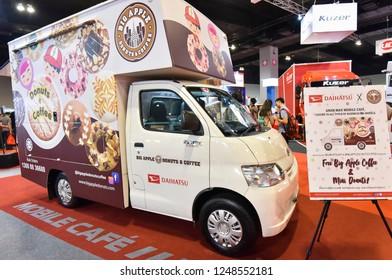 KUALA LUMPUR, MALAYSIA - NOVEMBER 28, 2018 : Daihatsu food truck display at Kuala Lumpur International Motor Show 2018