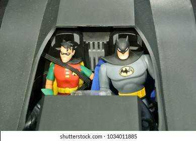 KUALA LUMPUR, MALAYSIA -NOVEMBER 29, 2017: Fiction character of Batman & Robin from Marvel movies and comic. Batman & robin action figure toys in various size display for public.