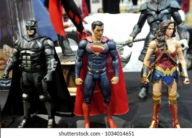 KUALA LUMPUR, MALAYSIA -NOVEMBER 29, 2017: Fiction character of Justice league team from Marvel movies and comic. Justice League action figure toys in various size display for public.
