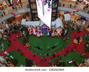 Kuala Lumpur, Malaysia. November 29, 2018. Christmas decoration fully immersed the interior of centre court of Suria Mall KLCC