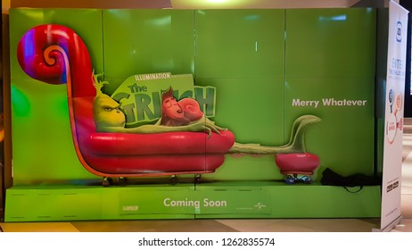 KUALA LUMPUR, MALAYSIA - NOVEMBER 30, 2018: The Grinch movie poster. The movie is about a grumpy Grinch plots to ruin Christmas for the village of Whoville